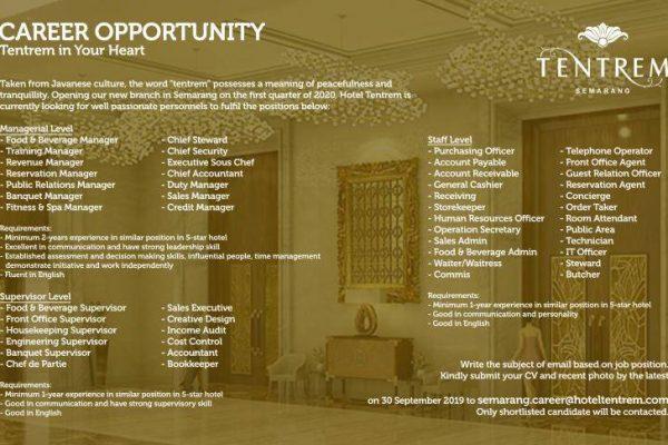 Career Yogyakarta Hotel - Hotel Tentrem Yogyakarta